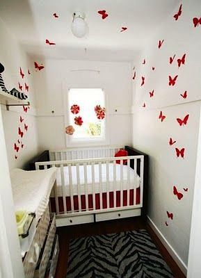 White baby nursery ideas for small spaces with butterfly wall decals
