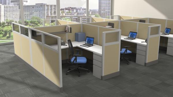 Modern Office Cubicles 6'x6'u2013 6 Pack - Freedman's Office Furniture