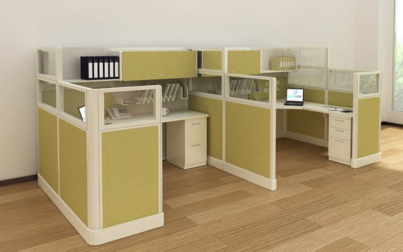 Office Cubicles With Glass Divider Panels & File Cabinet   Joyce