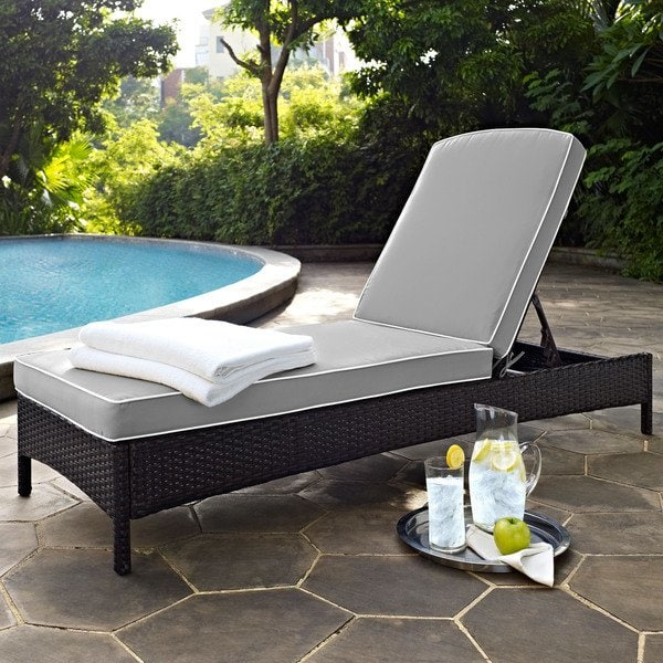 Shop Palm Harbor Brown Wicker Outdoor Chaise Lounge with Grey