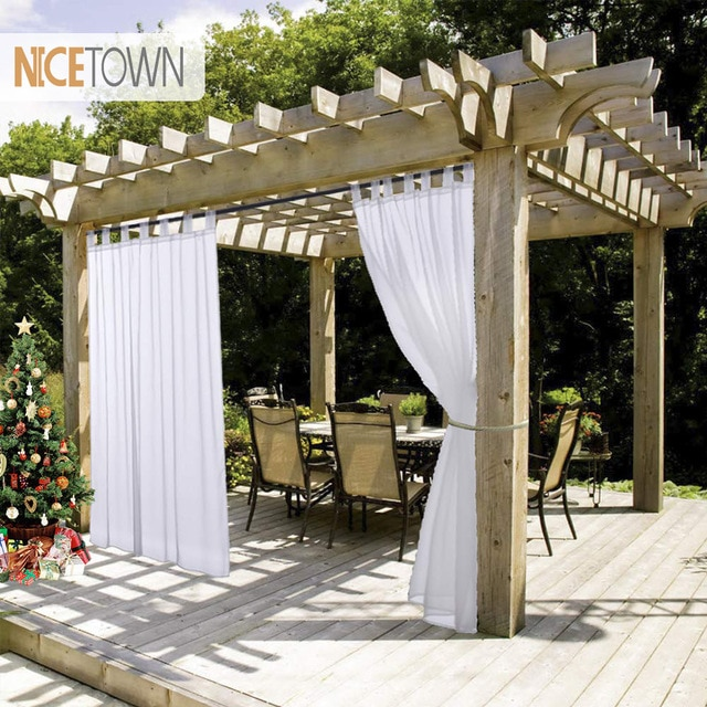 NICETOWN Summer White Indoor Outdoor Curtain Panels Elegant Tab Top