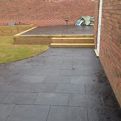 Black Slate Paving ✓ Patio Slabs Garden ✓20m2 600x400mm 15 to 20mm