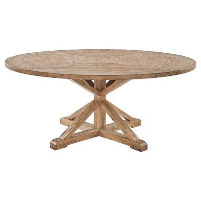Sierra Round Farmhouse Pedestal Base Wood Dining Table - 72