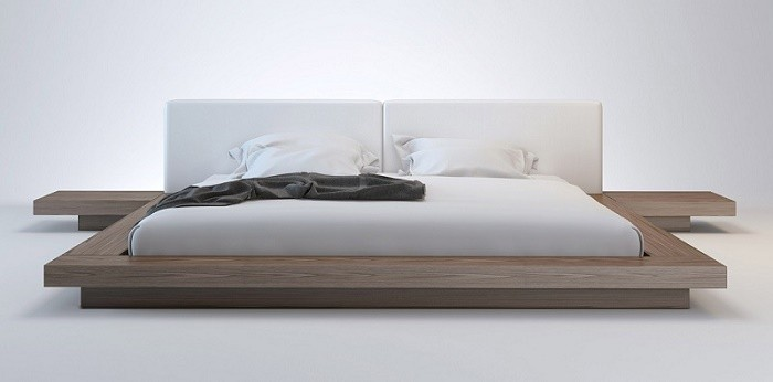 Wanda Walnut & White Modern Platform Bed | Contemporary Beds
