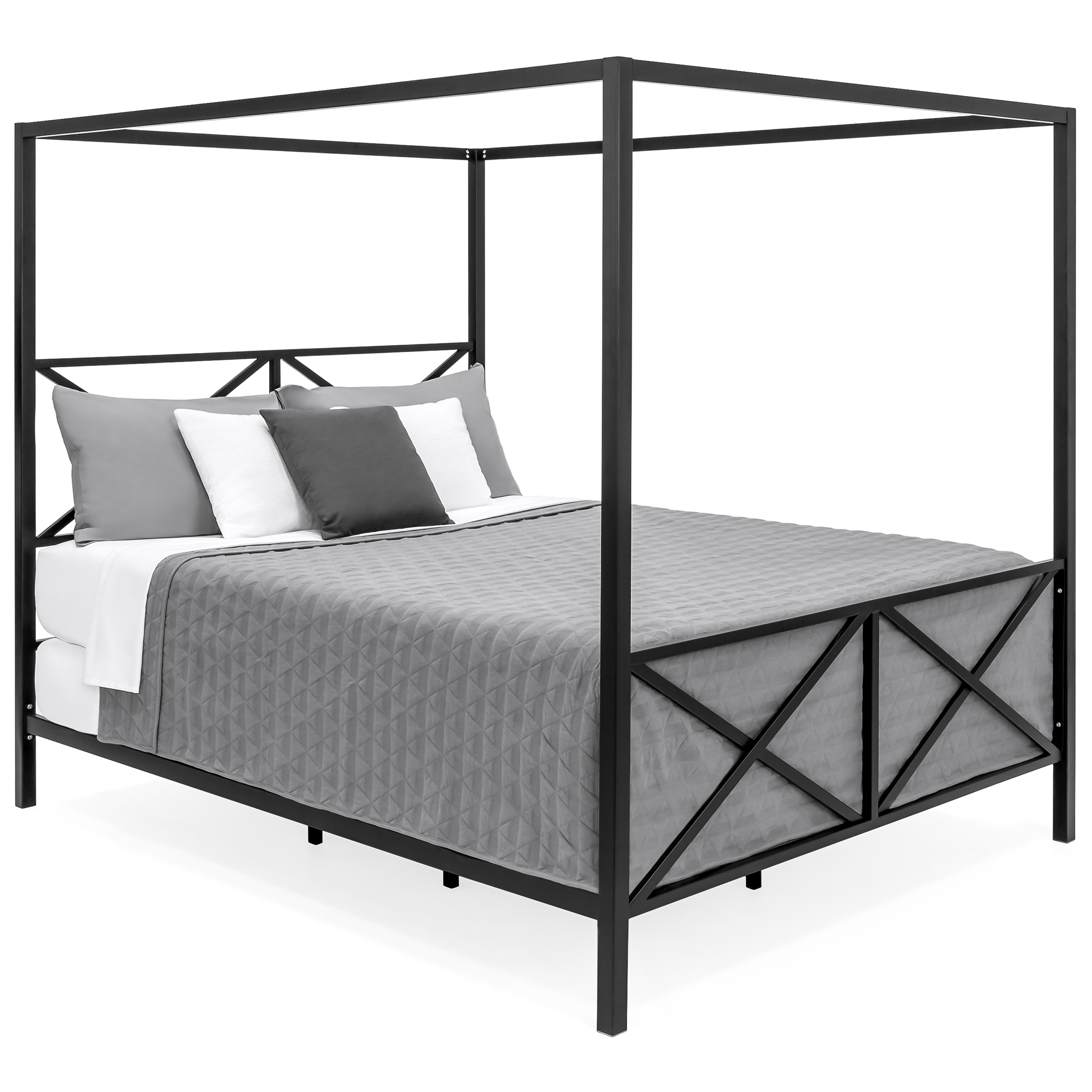 Best Choice Products Modern 4 Post Canopy Queen Bed w/ Metal Frame