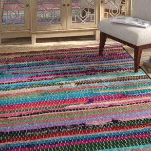 Blue Cotton Rag Rugs Washable | Wayfair