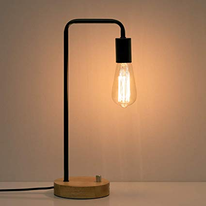 Amazon.com: HAITRAL Industrial Desk Lamp - Wooden Table Reading Lamp