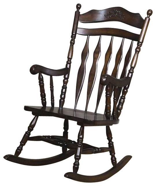 Coaster Rocking Chair, Walnut Finish - Traditional - Rocking Chairs