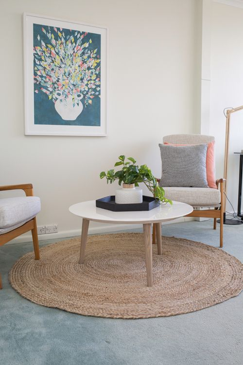 Home office, study off bedroom, round coffee table, circle jute rug