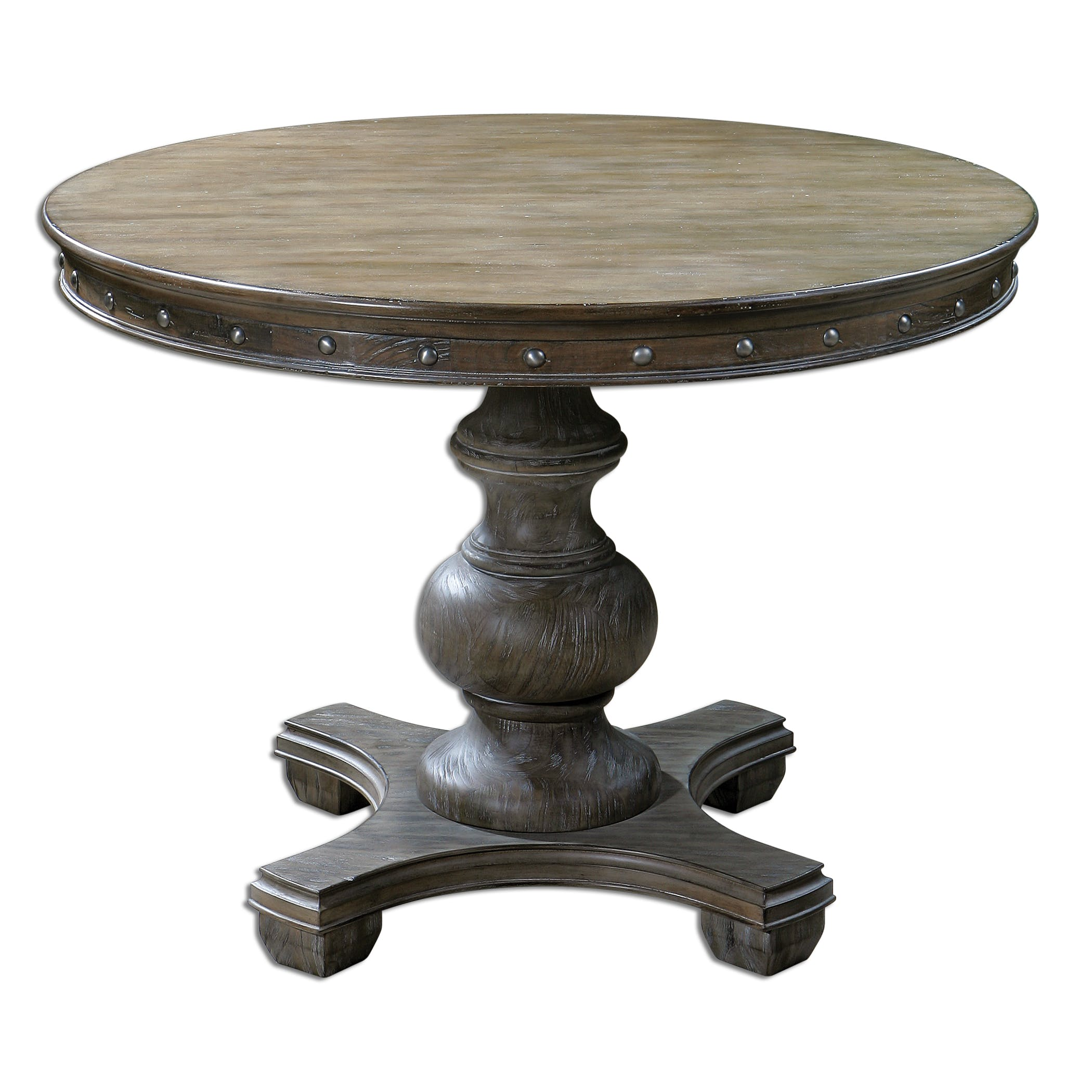 Uttermost Living Room Sylvana Wood Round Table 24390 - Penny Mustard