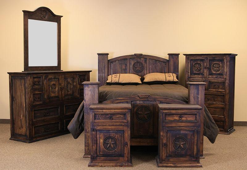 LMT   Mansion with Star Rustic Bedroom Set in Medio   Dallas