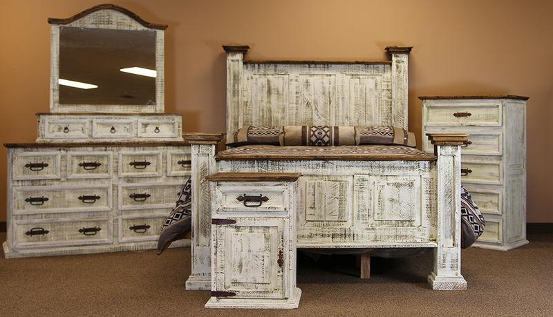 LMT | White Washed Rustic Bedroom Set | Dallas Designer Furniture