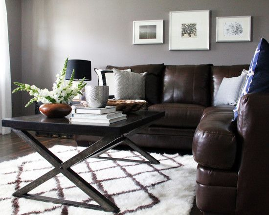 Adding some rustic look to   brown living room