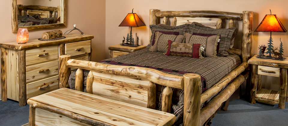 Giving a rough look with the   rustic log furniture
