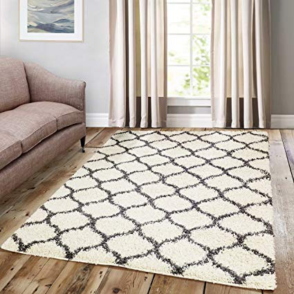 Amazon.com: A2Z Rug Cozy Super Trellis Shaggy Rugs Ivory & Dark Grey