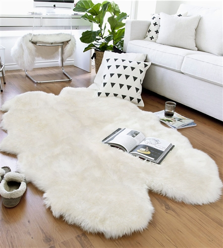 White Sheepskin Rug - Quad