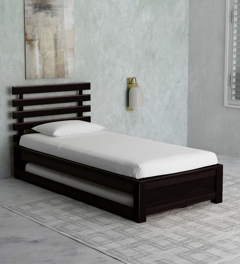 Buy Stigen Solid Wood Single Bed with Trundle in Warm Chestnut
