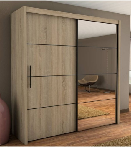 Inova Oak 2 Door Sliding Door Wardrobe Slider 200cm P4DS4120