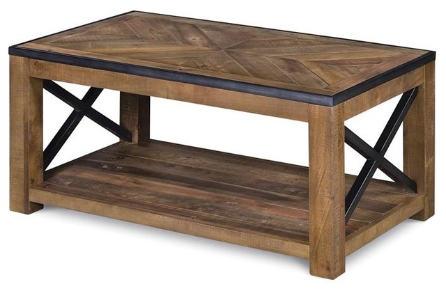 Magnussen Penderton Wood Small Rectangular Coffee Table in Sienna