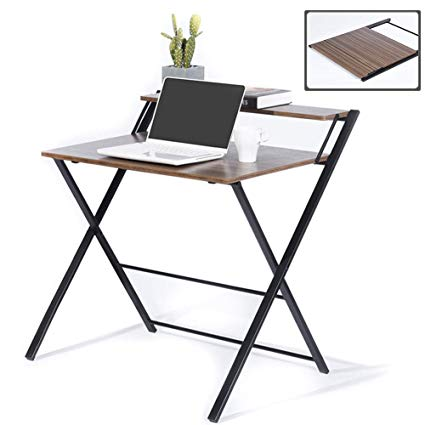 Amazon.com: GreenForest Folding Desk for Small Space, 2 Tiers