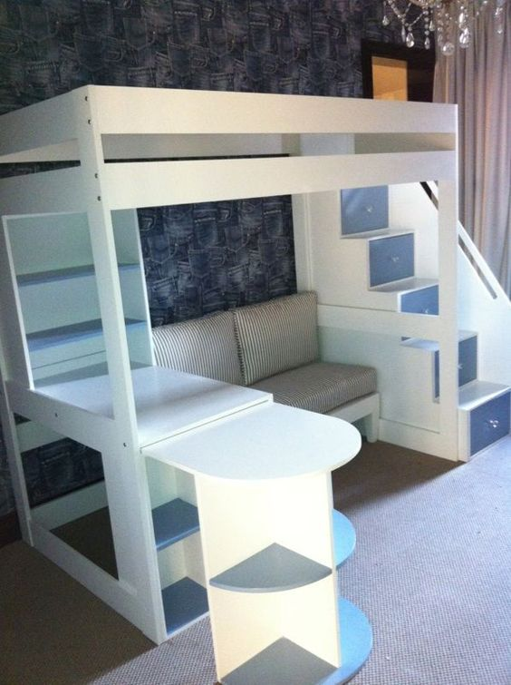 Kids Loft Beds With Desk And Stairs: Tween loft bed with pullout