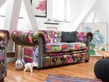 3 Seater Fabric Sofa Patchwork Purple CHESTERFIELD | Beliani.com