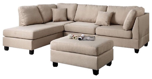 3-Piece Sectional Sofa with Reversible Chaise and Ottoman