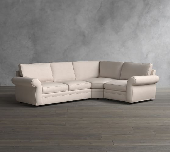 Pearce Roll Arm Upholstered 3-Piece Sectional with Wedge | Pottery Barn