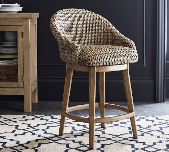 Seagrass Bucket Swivel Bar Stool | Pottery Barn