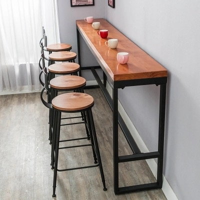 Retro leisure cafes against the wall bar table Home high bar table