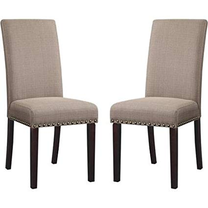 Amazon.com - DHI Nice Nail Head Upholstered Dining Chair, Set of 2
