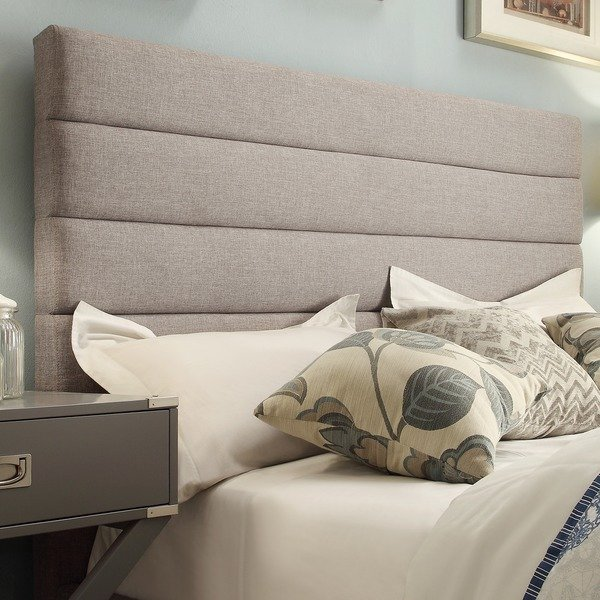 Shop Corbett Horizontal Tufted Gray Linen Upholstered Headboard by