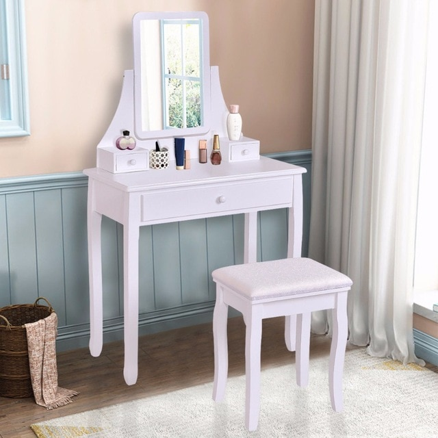 Goplus White Makeup Dressing Table Vanity Desk and Stool Set with
