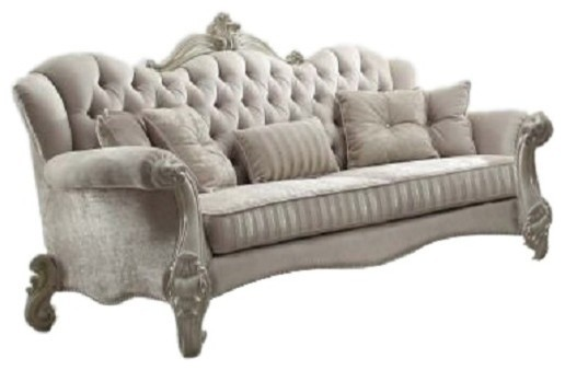 Acme Versailles Sofa With 5 Pillows, Ivory Velvet and Bone White