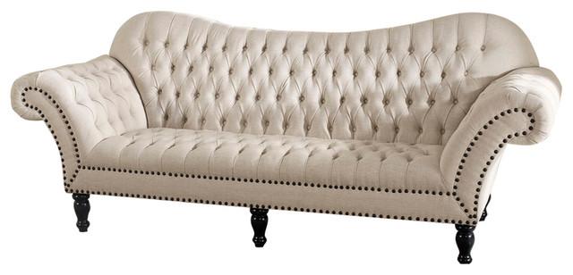Bostwick Beige Linen Classic Victorian Sofa - Traditional - Sofas