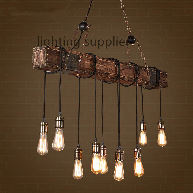Loft Style Creative Wooden Droplight Edison Vintage Pendant Light