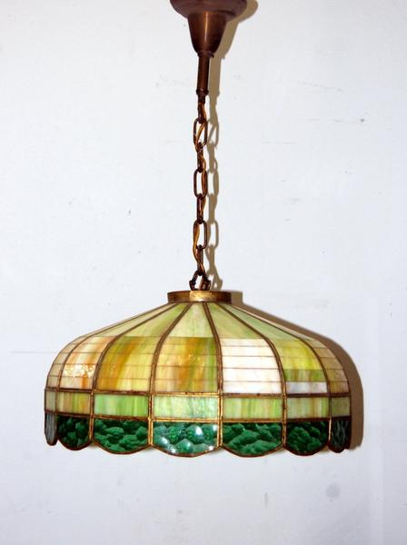 Antique 1930s Stained Glass Hanging Light Fixture, Vintage Lighting