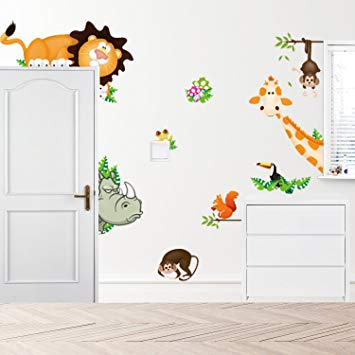 Amazon.com: Removable Creative 3D Lovely Blooms Zoo Wall Decals Kids