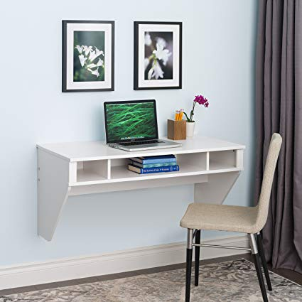 Amazon.com: Wall Mounted Designer Floating Desk in White: Kitchen