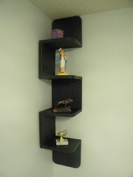 Wall mounted corner zig zag shelf Retro Black | Products | Wall