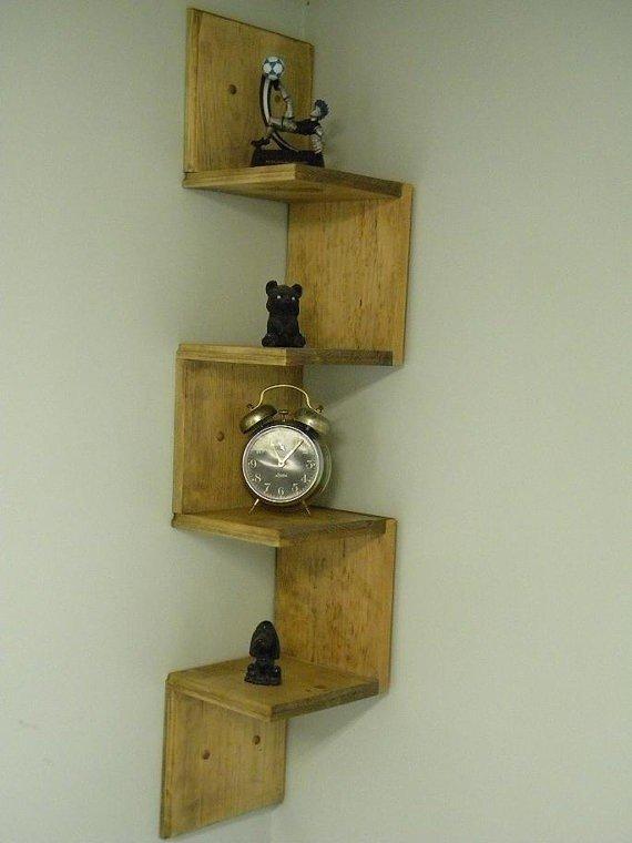 Elegant look with wall mounted   corner shelf