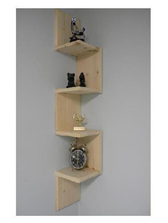 Wall mounted corner shelf Retro 4 tier zig zag shelf for | Etsy