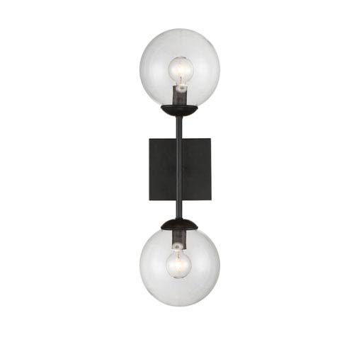 251 First Uptown Black Globe Two Light Wall Sconce M90001 Bk | Bellacor