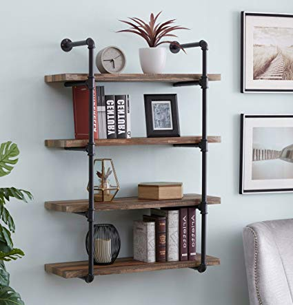 Amazon.com: Homissue 4-Shelf Rustic Pipe Shelving Unit, Metal