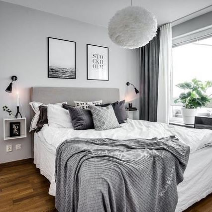 Gray and white Bedroom. | Home Decor with wall art - tips and tricks