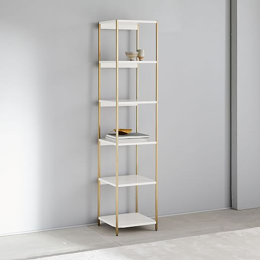 Zane Narrow Bookshelf - White | west elm