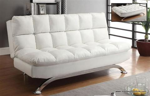 368W- WHITE COLOR- PU LEATHER- PILLOW TOP- KLIK KLAK SOFA BED u2013 mysleep