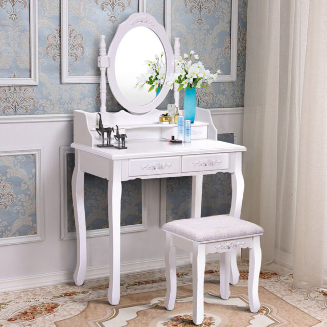 Wood White Vanity Makeup Dressing Table Set with Stool 7
