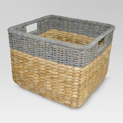 Seagrass Rectangular Wicker Storage Basket With Gray Trim 11
