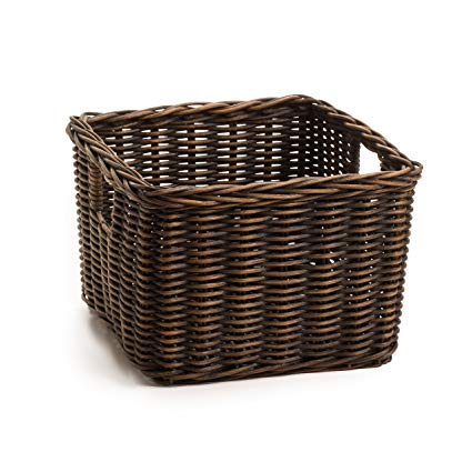 Amazon.com: The Basket Lady Low Square Wicker Shelf Basket, Small (5
